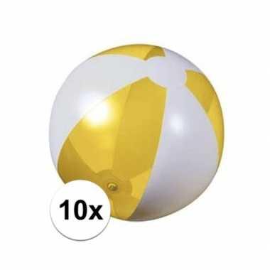 10x opblaas strandbal geel met wit