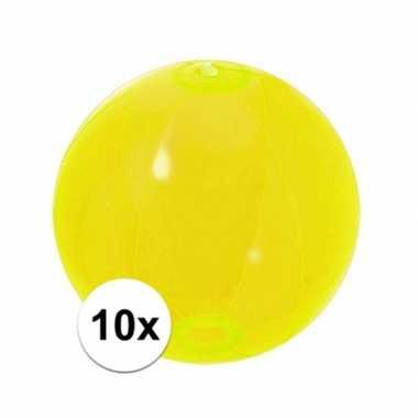 10x opblaas strandbal neon geel