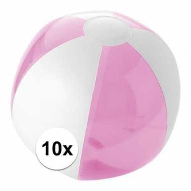 10x opblaas strandbal roze met wit