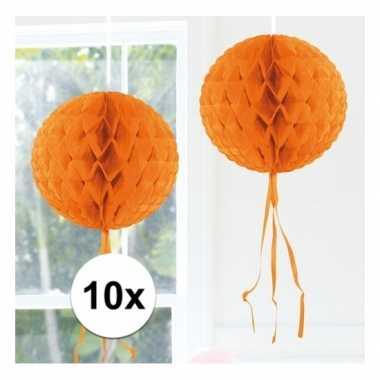 10x oranje feestversiering decoratie bol 30
