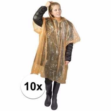 10x oranje regen ponchos voor volwassenen