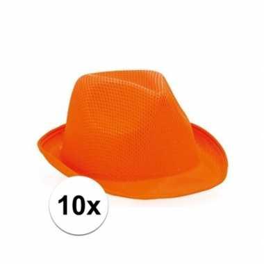 10x oranje trilby feesthoedje