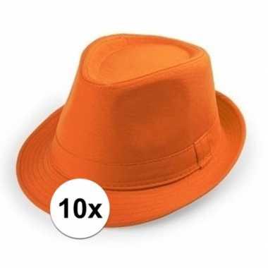 10x oranje trilby hoedjes voor volwassenen