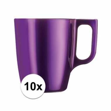 10x paarse koffiemok/theemok 250 ml
