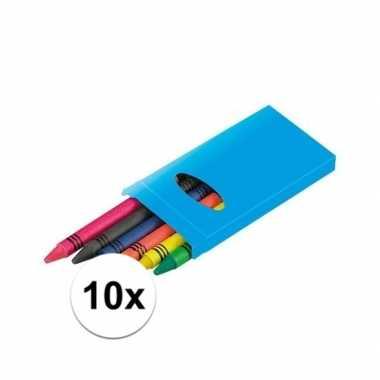 10x pakjes 6 gekleurde uitdeel wasco krijtjes