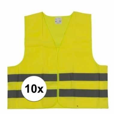 10x reflecterende veiligheids vestjes geel voor jongens en meisjes