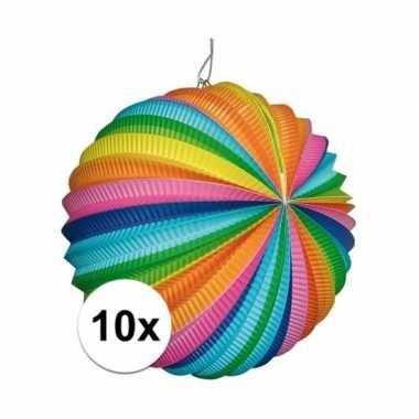 10x regenboog lampionnen rond