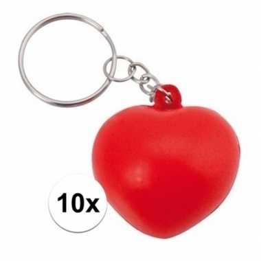 10x rode hartvormige stressbal sleutelhanger