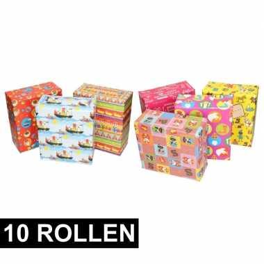 10x rol cadeaupapier sinterklaas en zwarte piet