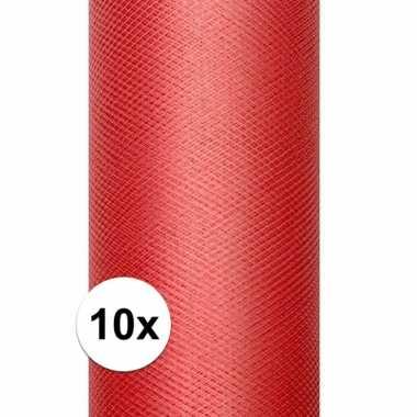 10x rol tule stof rood 15 cm breed