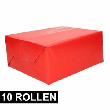 10x rollen cadeaupapier rood 70 x 200 cm