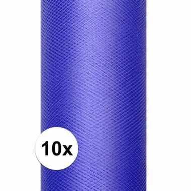 10x rollen tule stof blauw 15 cm breed