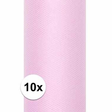 10x rollen tule stof licht roze 15 cm breed