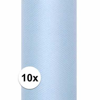 10x rollen tule stof lichtblauw 15 cm breed
