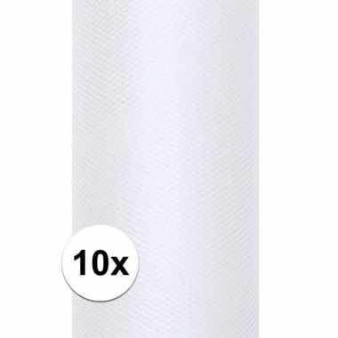 10x rollen tule stof wit 15 cm breed