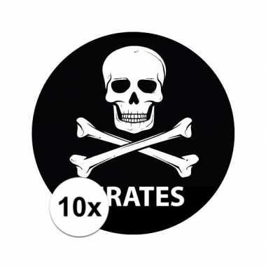 10x ronde pirates stickertjes
