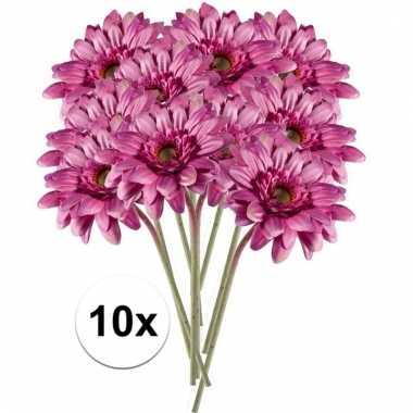 10x roze gerbera 47 cm kunstplant steelbloem