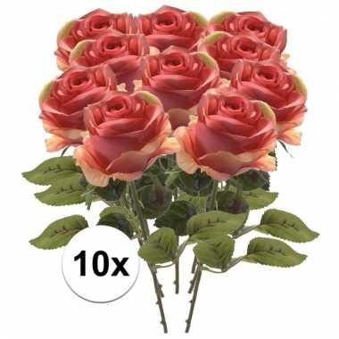 10x roze roos 45 cm kunstplant steelbloem