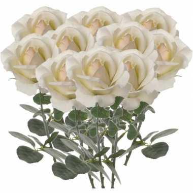 10x rozen kunstbloem creme wit 37 cm