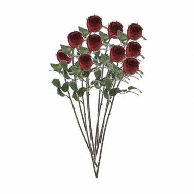10x rozen kunstbloem rood 69 cm