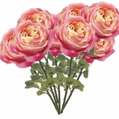 10x rozen kunstbloem roze 66 cm