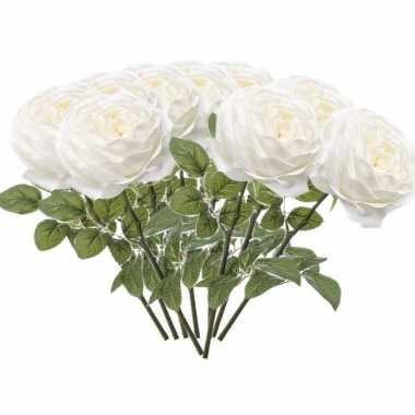 10x rozen kunstbloem wit 66 cm