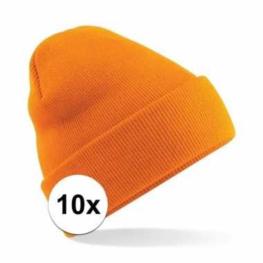 10x schaatsmuts voor volwassenen oranje