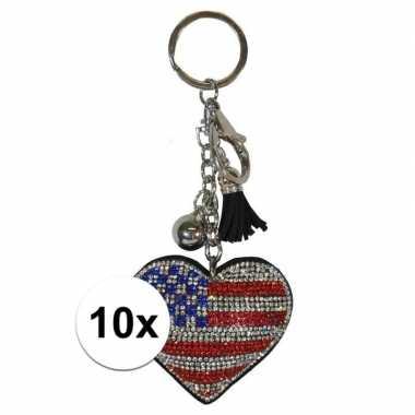 10x sleutelhanger amerikaanse/usa vlag 15 cm