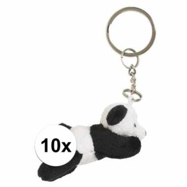 10x sleutelhangers van panda beertje 6 cm
