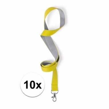 10x sleutelkoord geel met grijs 50x2 cm