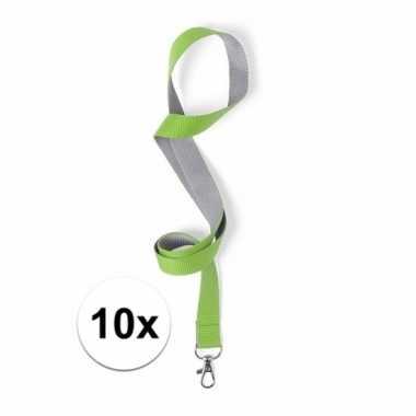 10x sleutelkoord groen met grijs 50x2 cm