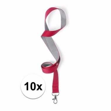 10x sleutelkoord rood met grijs 50x2 cm