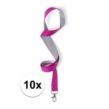 10x sleutelkoord roze met grijs 50x2 cm