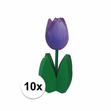 10x staande houten tulpen in het paars