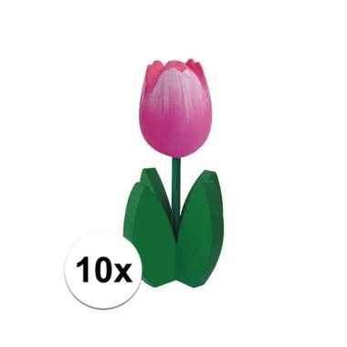 10x staande houten tulpen in het roze