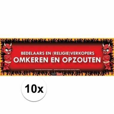 10x sticky devil stickers tekst bedelaars