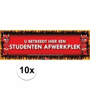 10x sticky devil stickers tekst dit is een studenten afwerkplek