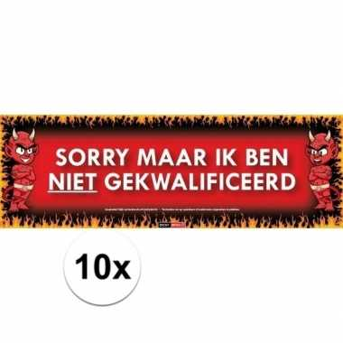 10x sticky devil stickers tekst gekwalificeerd