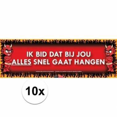 10x sticky devil stickers tekst hangen