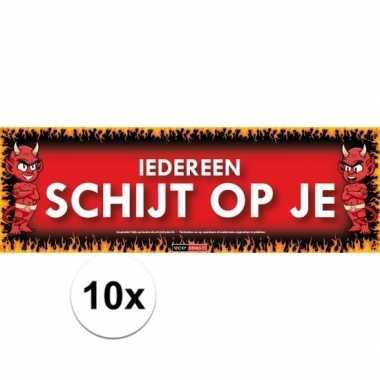 10x sticky devil stickers tekst iedereen schijt op je