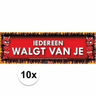 10x sticky devil stickers tekst iedereen walgt van je