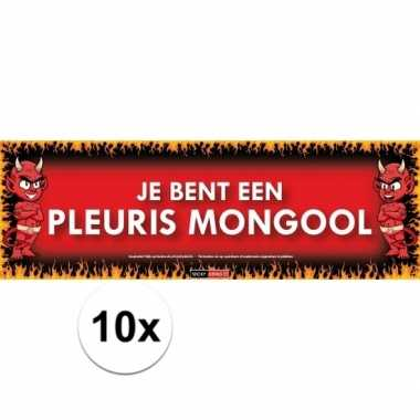 10x sticky devil stickers tekst je bent een pleuris mongool