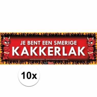 10x sticky devil stickers tekst je bent een smerige kakkerlak