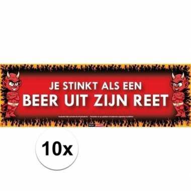 10x sticky devil stickers tekst je stinkt als een beer uit zijn reet