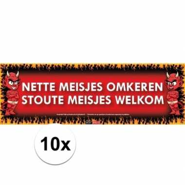 10x sticky devil stickers tekst omkeren welkom