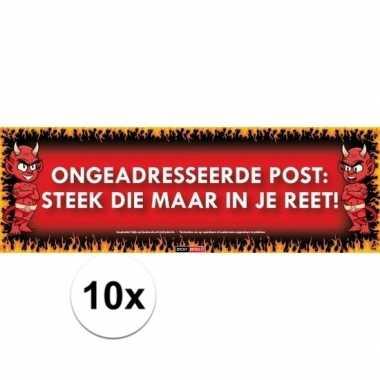 10x sticky devil stickers tekst ongewenste post: steek die maar in je