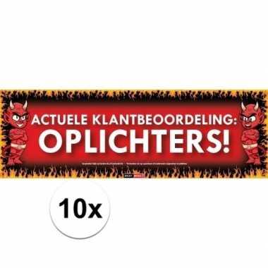 10x sticky devil stickers tekst oplichters