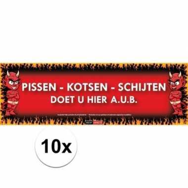 10x sticky devil stickers tekst pissen-kotsen-schijten doet u hier