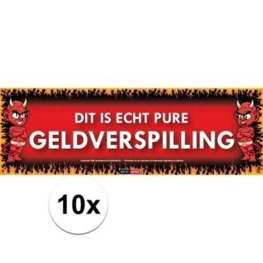 10x sticky devil stickers tekst pure geldverspilling