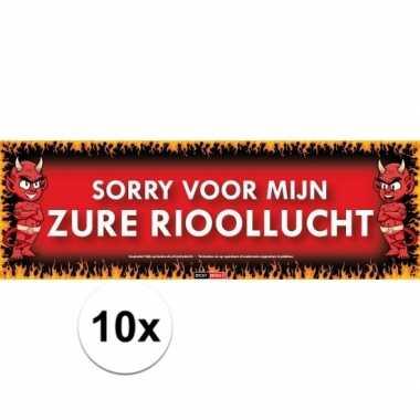 10x sticky devil stickers tekst rioollucht